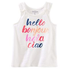 Girls 4-12 OshKosh B'gosh® 'Hello Bonjour Hola Ciao' Sequined Graphic Tank Top