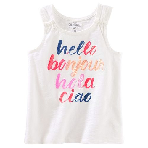 "Girls 4-12 OshKosh B'gosh® ""Hello Bonjour Hola Ciao"" Sequined Graphic Tank Top"