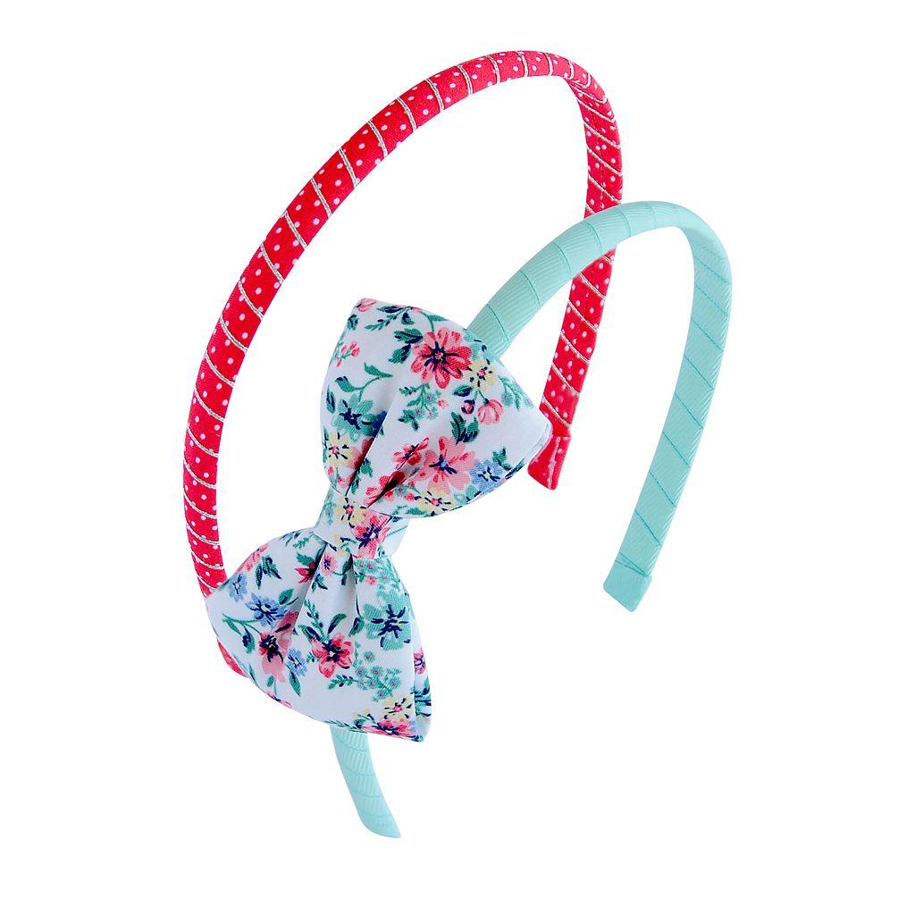 Toddler Girl Carter's 2-pk. Bow & Polka-Dot Metallic Headband Set