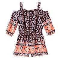 Girls 7-16 My Michelle Cold Shoulder Border Romper