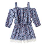 Girls 7-16 My Michelle Cold Shoulder Lace Border Romper