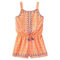 Girls 7-16 My Michelle Printed Embroidery Trim Romper