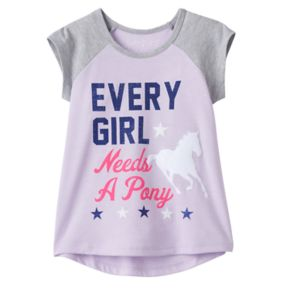 """Toddler Girl Jumping Beans® """"Every Girl Needs A Pony"""" Glittery Graphic Tee"""