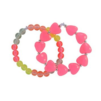 Toddler Girl Carter's 2-pk. Rainbow Hearts Beaded Bracelet Set