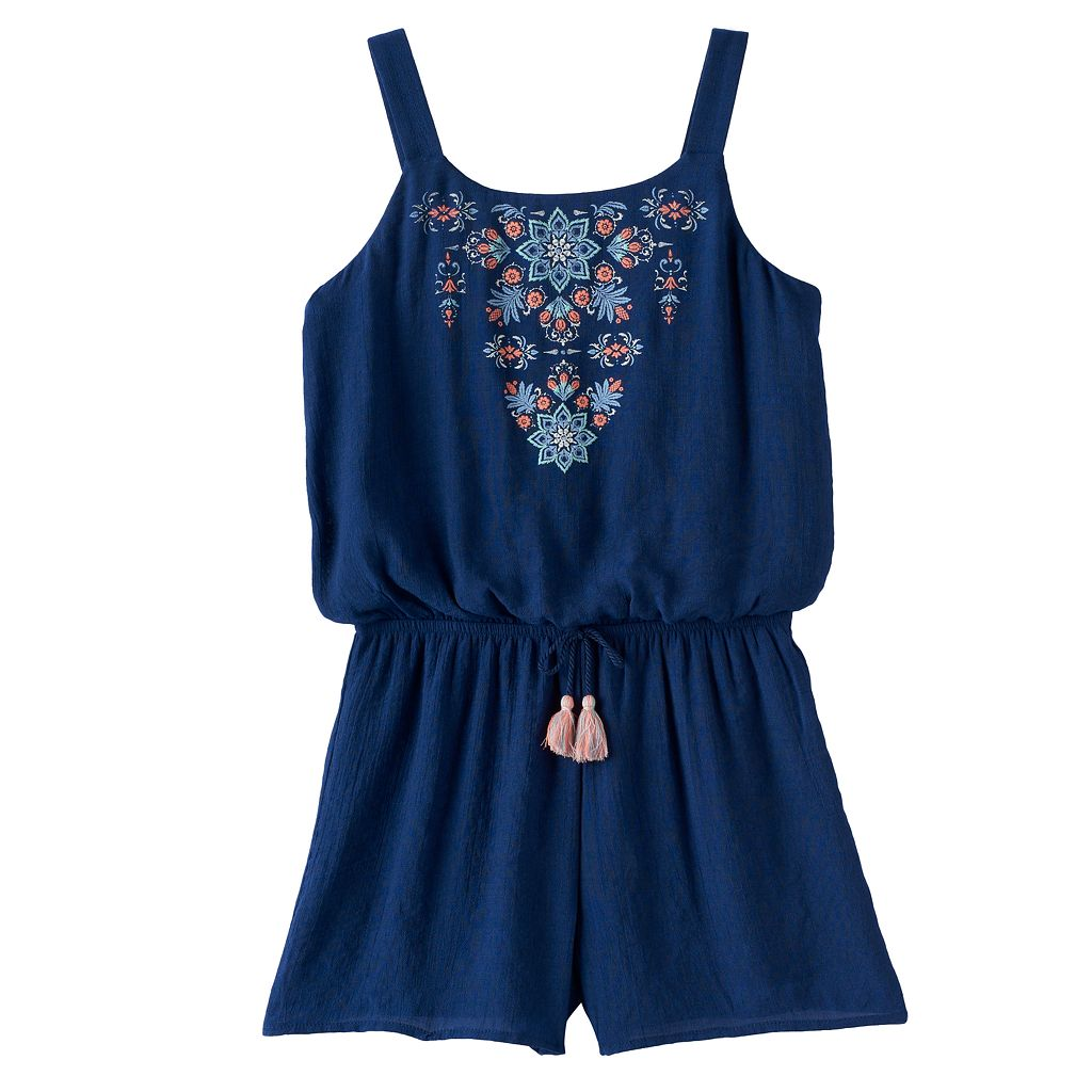 Girls 7-16 My Michelle Printed Embroidery Romper