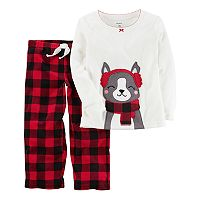 Toddler Girl Carter's Applique Top & Microfleece Buffalo Check Bottoms Pajama Set