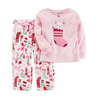 Toddler Girl Carter's Mouse Stocking Applique Top & Microfleece Bottoms Pajama Set