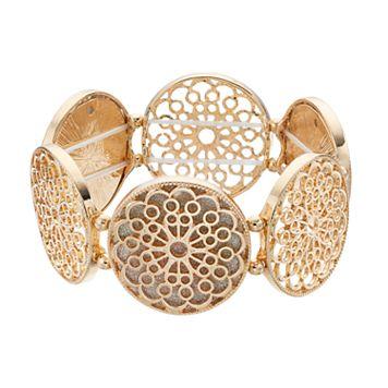 Glittery Flower Disc Stretch Bracelet
