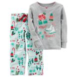 "Toddler Girl Carter's ""Merry & Bright"" Glitter Top & Microfleece Bottoms Pajama Set"