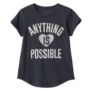"""Toddler Girl Jumping Beans® """"Anything Is Possible"""" Glittery Heart Graphic Tee"""
