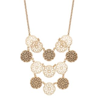 Glittery Filigree Disc Swag Necklace