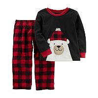 Toddler Boy Carter's Polar Bear Applique Top & Buffalo Check Microfleece Bottoms Pajama Set