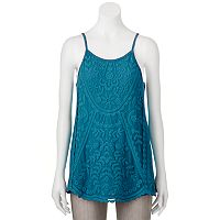 Juniors' Rewind Embroidered Cage Back Tank