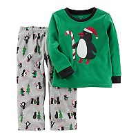 Toddler Boy Carter's Penguin Applique Top & Microfleece Bottoms Pajama Set