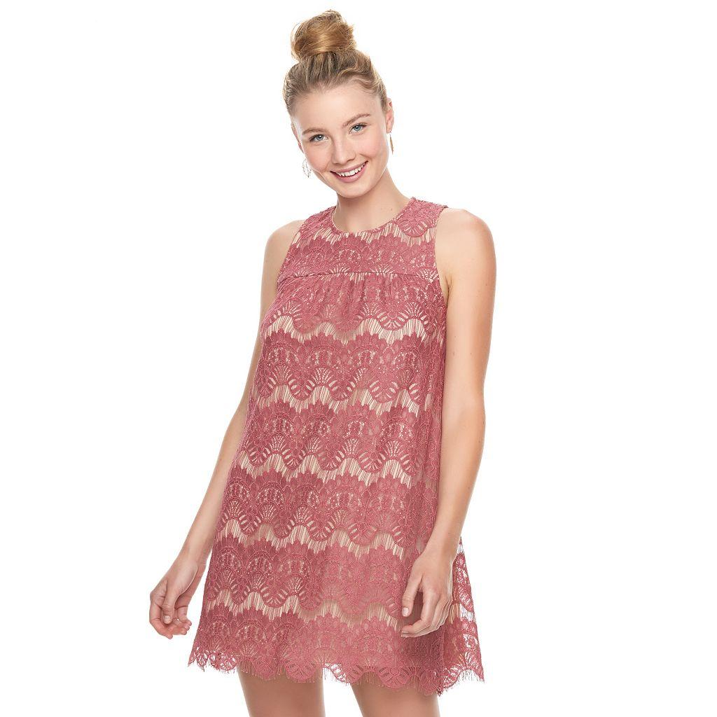 Juniors' Speechless Sleeveless Lace Shift Dress