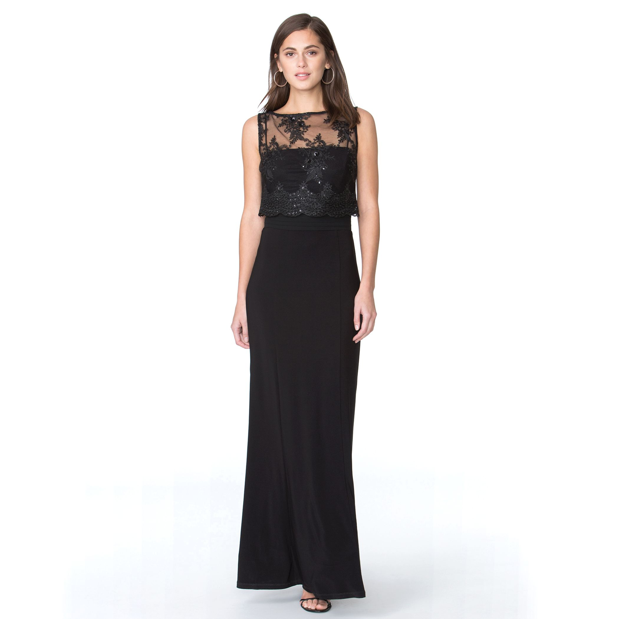 Lace Overlay Evening Dress