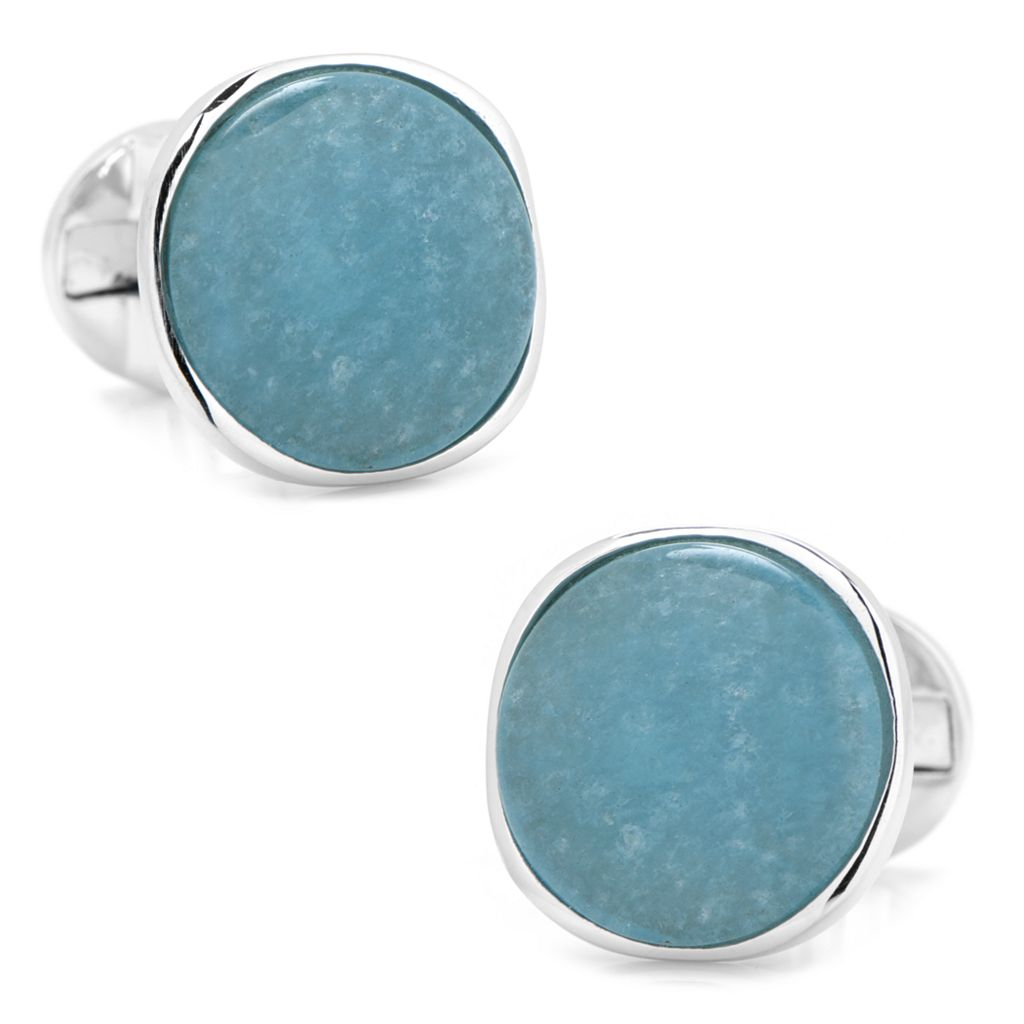 Round Aquamarine Cuff Links