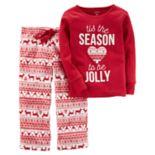 "Toddler Girl Carter's 2-pc. Fleece ""Tis The Season To Be Jolly"" Top & Striped Pants Pajama Set"