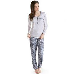 Women's INK+IVY Pajamas: Henley Tee & Jogger Pants PJ Set