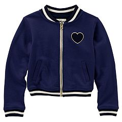 Girls 4-12 OshKosh B'gosh® Heart & Striped Varsity Jacket