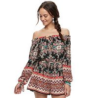 Juniors' About A Girl Print Off-the-Shoulder Romper