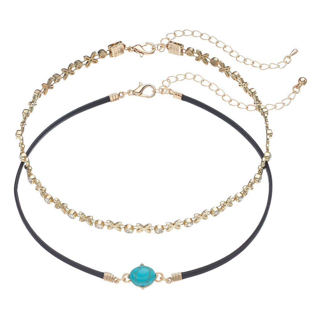 Floral Link & Simulated Turquoise Cabochon Choker Necklace Set