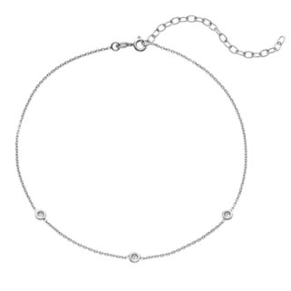Sterling Silver Cubic Zirconia Choker Necklace