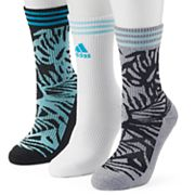 Women's adidas 3 pkPalm Cushioned Compression Crew Socks
