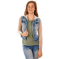 Juniors' Wallflower Velvet Sleeve Denim Jacket