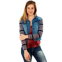 Juniors' Wallflower Striped-Sleeve Denim Jacket