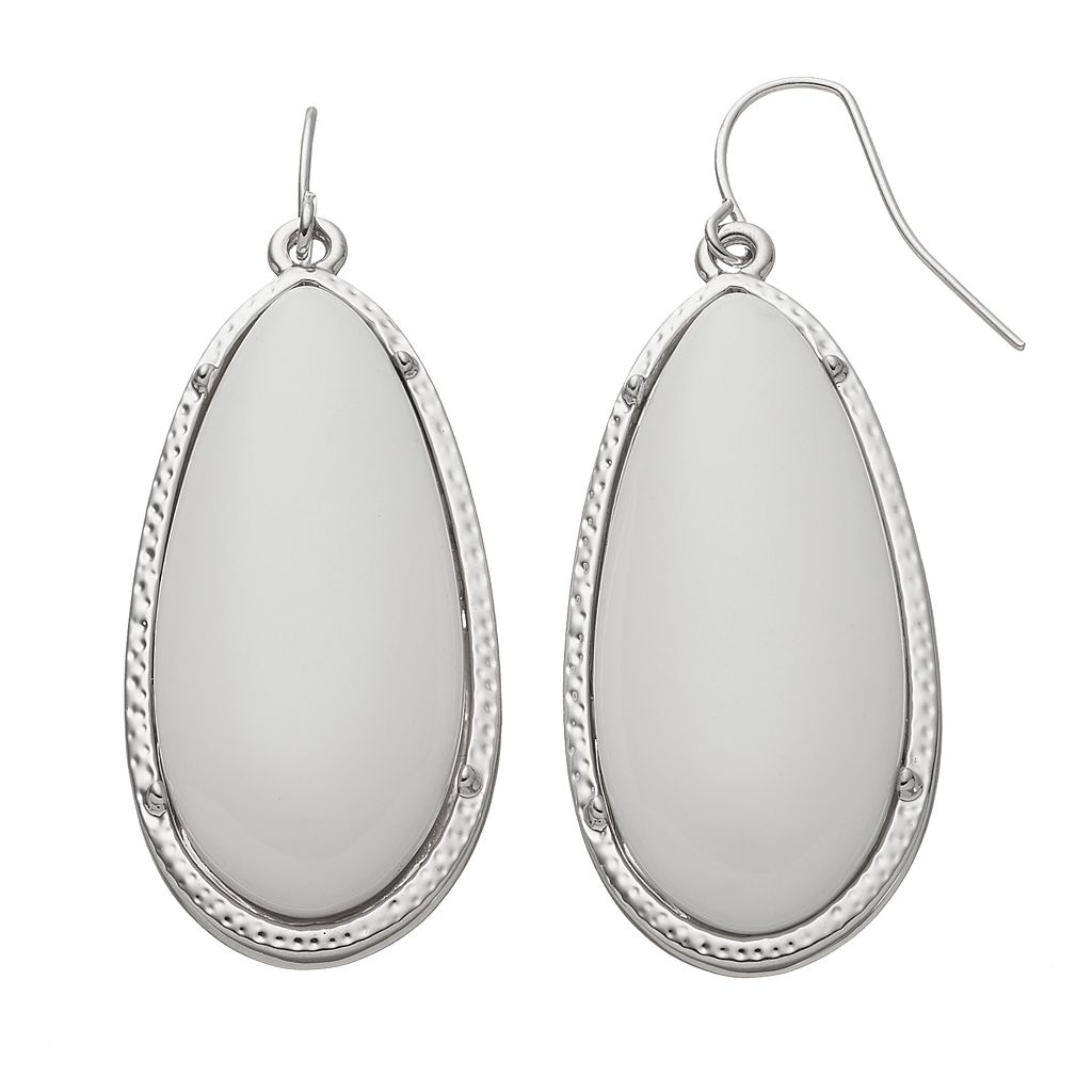 Textured Oval Cabochon Nickel Free Drop Earrings