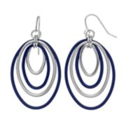 Concentric Oval Nickel Free Drop Hoop Earrings