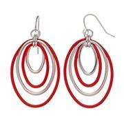 Concentric Oval Nickel Free Drop Hoop Earrings