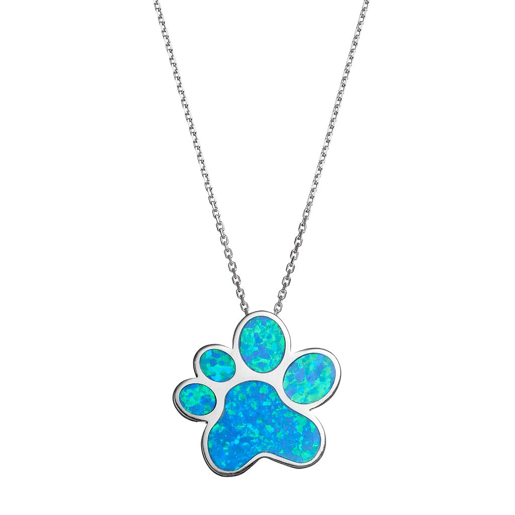 Sterling Silver Lab-Created Blue Opal Paw Print Pendant