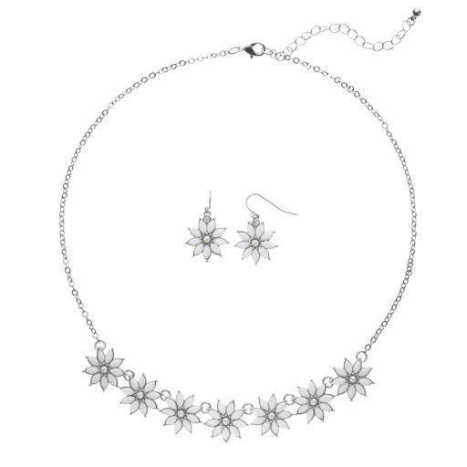 Flower Necklace & Drop Earring Set