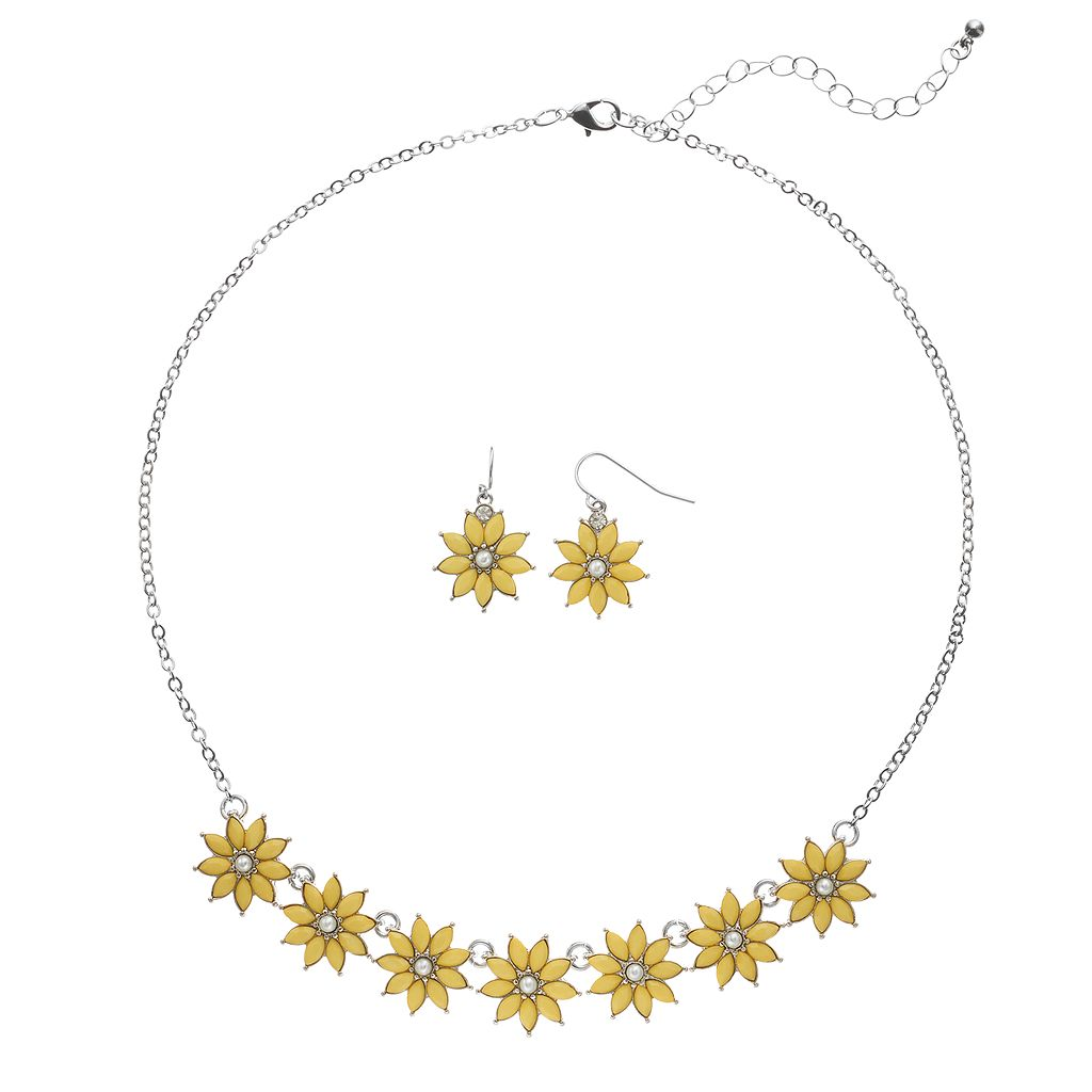 Flower Necklace & Drop Earring Set