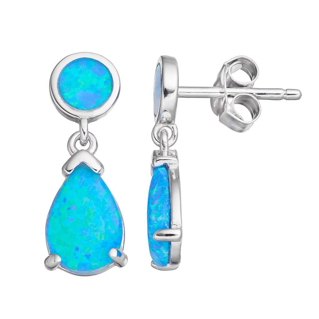Sterling Silver Lab-Created Blue Opal Teardrop Earrings