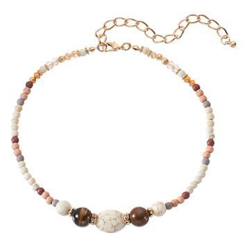 Marbled Bead Choker Necklace