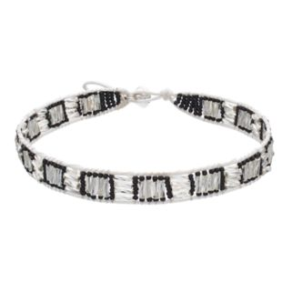Black & Clear Bead Cord Choker Necklace