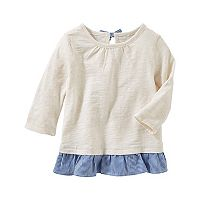 Girls 4-12 OshKosh B'gosh® Peplum Hem Slubbed Long Sleeve Top