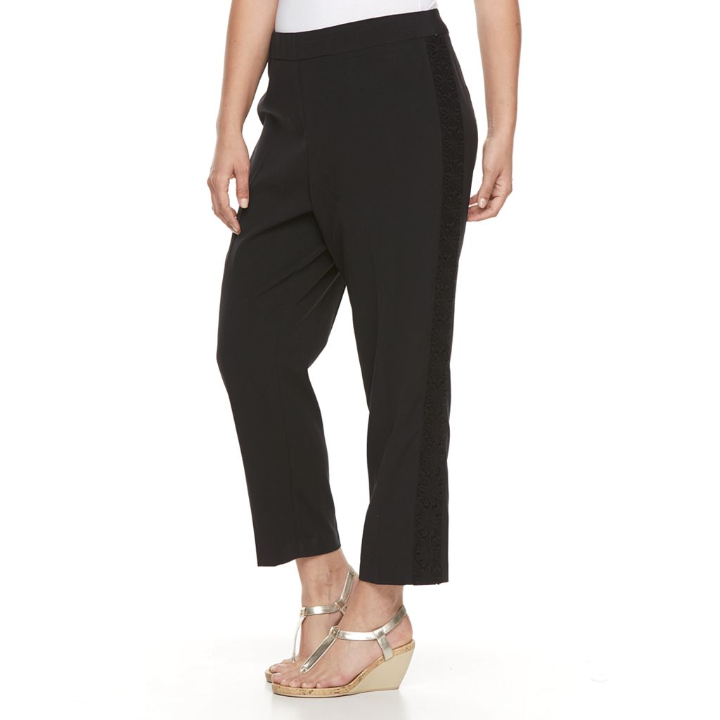 Plus Size Dana Buchman Bi-Stretch Crochet Ankle Pants