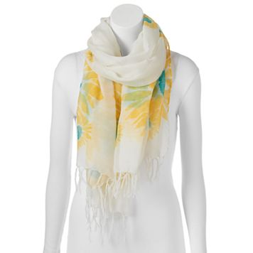 love this life Sunflower Fringed Oblong Scarf