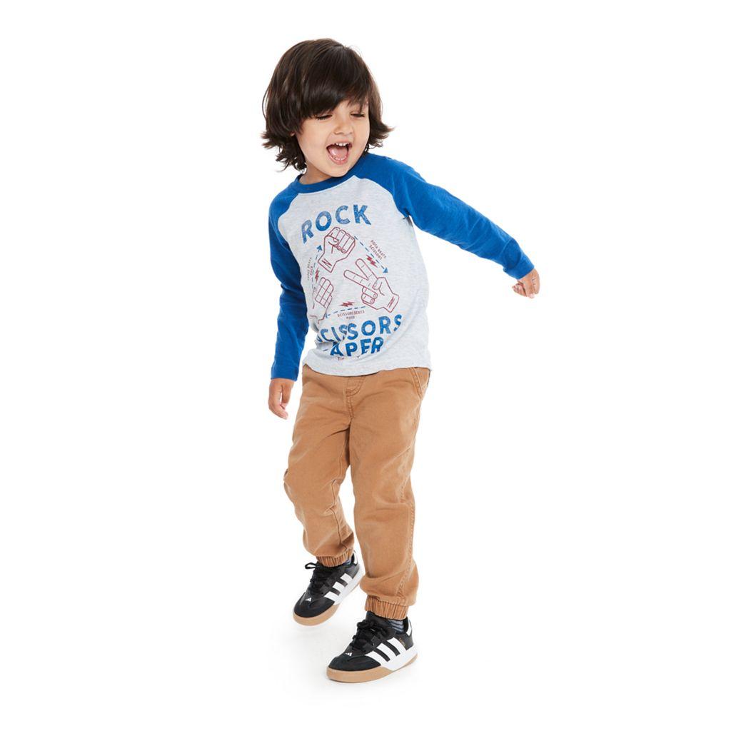 Toddler Boy Jumping Beans® Slubbed Raglan Long Sleeve Graphic Tee
