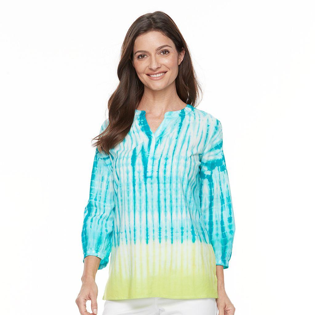 Women's Caribbean Joe Tie-Dye Splitneck Top