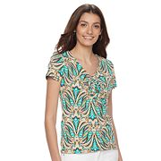 Women's Caribbean Joe Printed V-Neck Tee