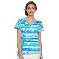 Women's Caribbean Joe Printed Drawstring V-Neck Tee