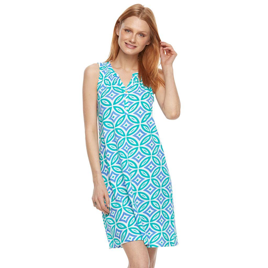 Women's Caribbean Joe Mosaic Smocked Henley Dress