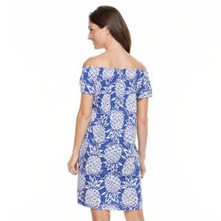 Women's Caribbean Joe Pineapple Off-the-Shoulder Dress