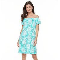 Women's Caribbean Joe Pineapple Off-the-Shoulder Dress
