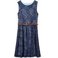 Girls 7-16 Speechless Braided Belt Lace Skater Dress